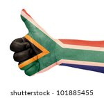 south africa flag on thumb up... | Shutterstock . vector #101885455