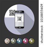 qr code scanning phone. vector... | Shutterstock .eps vector #1018855609