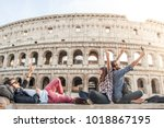 three young friends tourists...   Shutterstock . vector #1018867195