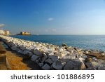 """view of Naples, Italy with, gulf and the fortress """"Castel dell'Ovo"""" - stock photo"""