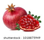 fresh pomegranate isolated on... | Shutterstock . vector #1018875949