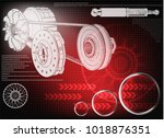 wheel and engine mechanism on a ... | Shutterstock .eps vector #1018876351