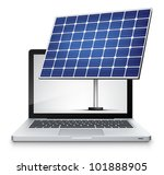 Vector Laptop with solar panel Isolated on White Background. Vector EPS 10. - stock vector