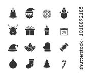 christmas black icons set on... | Shutterstock . vector #1018892185