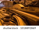 stacked wood harvesting in... | Shutterstock . vector #1018892869
