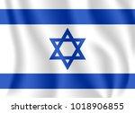 flag of israel. realistic... | Shutterstock .eps vector #1018906855