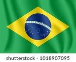 flag of brazil. realistic... | Shutterstock .eps vector #1018907095