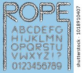 nautical rope font. light... | Shutterstock .eps vector #1018910407