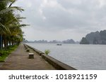 empty seafront with palm trees... | Shutterstock . vector #1018921159