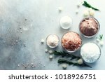 mix of different salt types on... | Shutterstock . vector #1018926751