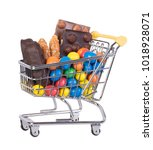 sweets in a shopping cart... | Shutterstock . vector #1018928071