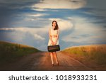 young redhead girl with bag... | Shutterstock . vector #1018933231