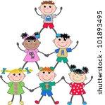 mixed ethnic children | Shutterstock .eps vector #101893495