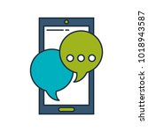 smartphone with speech bubble...   Shutterstock .eps vector #1018943587