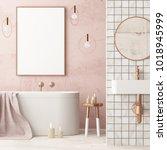 mock up bathroom in a modern... | Shutterstock . vector #1018945999