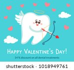 cartoon tooth in the role of a... | Shutterstock .eps vector #1018949761