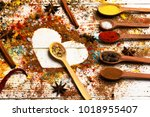 wood spoons with paprika ...   Shutterstock . vector #1018955407