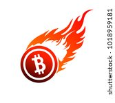 sign of a burning bitcoin.... | Shutterstock .eps vector #1018959181