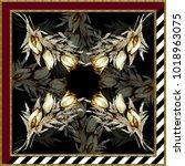 silk scarf design  fashion... | Shutterstock . vector #1018963075