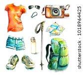 watercolor hiking walking... | Shutterstock . vector #1018964425