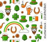 vector seamless pattern st.... | Shutterstock .eps vector #1018965865