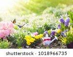 beautiful blooming garden with... | Shutterstock . vector #1018966735