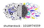 human brain divided into right... | Shutterstock .eps vector #1018974559