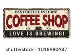 coffee shop vintage rusty metal ... | Shutterstock .eps vector #1018980487