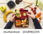 preparing healthy vegetarian... | Shutterstock . vector #1018982254