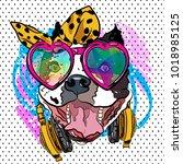 cartoon dog print. fun poster....   Shutterstock .eps vector #1018985125