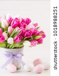 pink tulip on the white... | Shutterstock . vector #1018988251