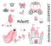 set of princess world design... | Shutterstock .eps vector #1018990087