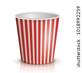 an empty red and white striped... | Shutterstock .eps vector #1018992259
