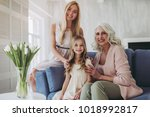 little cute girl  her... | Shutterstock . vector #1018992817