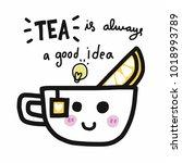 tea is always a good idea... | Shutterstock .eps vector #1018993789