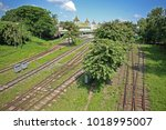the station approach to yangon... | Shutterstock . vector #1018995007