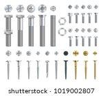 set of steel screws  bolts ...   Shutterstock .eps vector #1019002807
