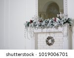 christmas decor on a white... | Shutterstock . vector #1019006701