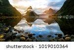beautiful sunrise in milford... | Shutterstock . vector #1019010364