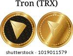 set of physical golden coin... | Shutterstock .eps vector #1019011579
