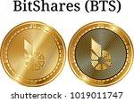 set of physical golden coin...   Shutterstock .eps vector #1019011747