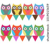eight colorful owls | Shutterstock .eps vector #1019015659