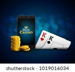 online mobile casino app. poker ... | Shutterstock .eps vector #1019016034