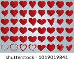 red heart vector set icon... | Shutterstock .eps vector #1019019841