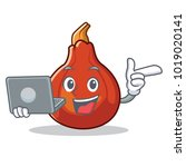 with laptop red kuri squash... | Shutterstock .eps vector #1019020141