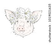 a beautiful pig in a wreath of... | Shutterstock .eps vector #1019021635