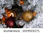 christmas tree decoration on... | Shutterstock . vector #1019023171