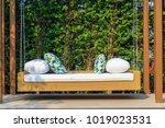 an outdoor resin wicker porch... | Shutterstock . vector #1019023531