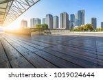 empty wooden footpath front...   Shutterstock . vector #1019024644