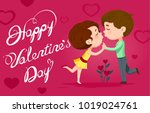 couple cartoon valentine | Shutterstock . vector #1019024761
